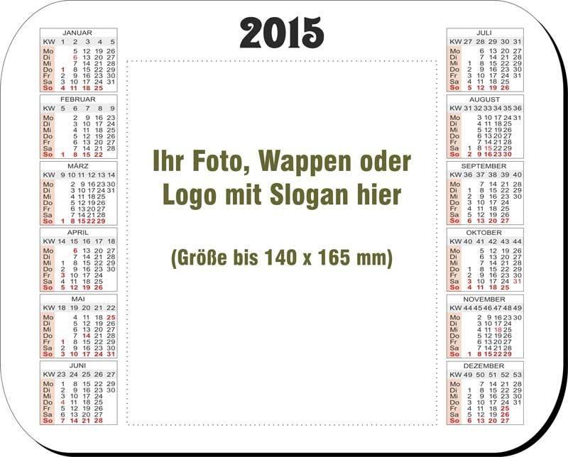 Hochglanz-Mousepad mit Kalender und Ihrem Foto